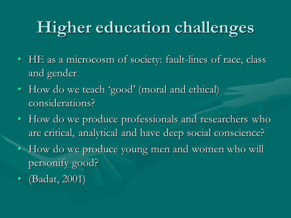 Higher education challenges HE as a microcosm of society: fault-lines of race, class and genderHE as a microcosm of society: fault-lines of race, clas