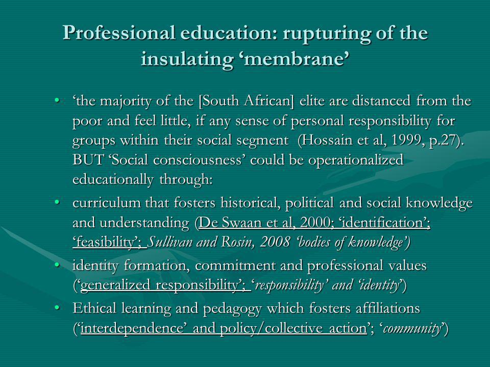 Professional education: rupturing of the insulating membrane the majority of the [South African] elite are distanced from the poor and feel little, if any sense of personal responsibility for groups within their social segment (Hossain et al, 1999, p.27).