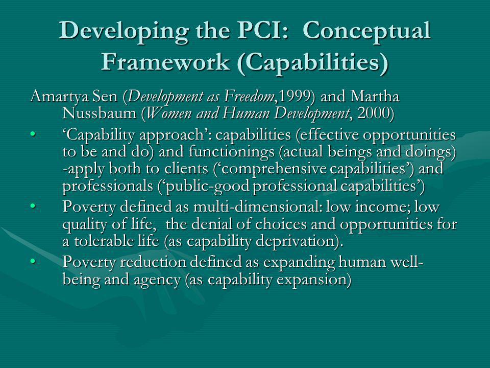 Developing the PCI: Conceptual Framework (Capabilities) Amartya Sen (Development as Freedom,1999) and Martha Nussbaum (Women and Human Development, 2000) Capability approach: capabilities (effective opportunities to be and do) and functionings (actual beings and doings) -apply both to clients (comprehensive capabilities) and professionals (public-good professional capabilities)Capability approach: capabilities (effective opportunities to be and do) and functionings (actual beings and doings) -apply both to clients (comprehensive capabilities) and professionals (public-good professional capabilities) Poverty defined as multi-dimensional: low income; low quality of life, the denial of choices and opportunities for a tolerable life (as capability deprivation).Poverty defined as multi-dimensional: low income; low quality of life, the denial of choices and opportunities for a tolerable life (as capability deprivation).