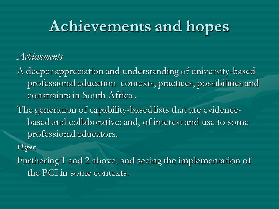 Achievements and hopes Achievements A deeper appreciation and understanding of university-based professional education contexts, practices, possibilit