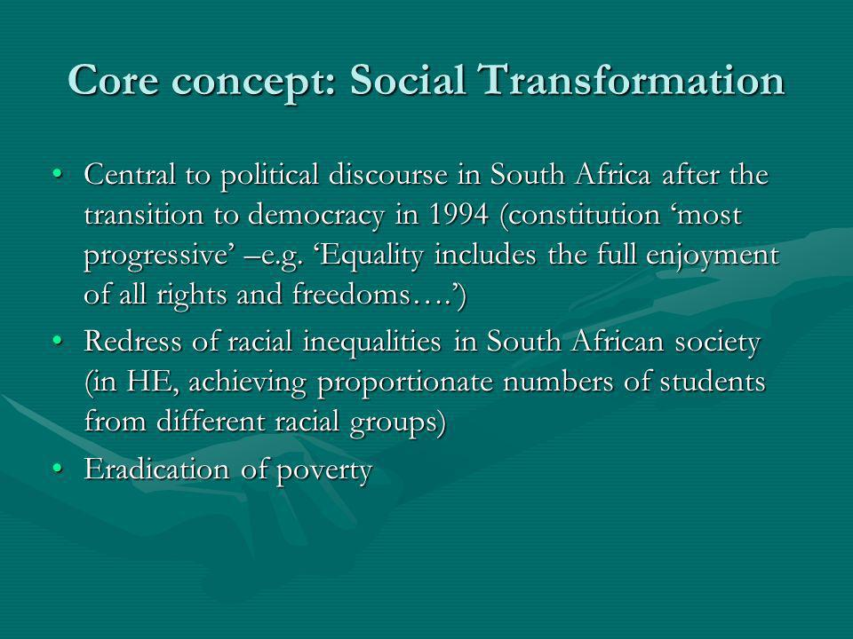 Core concept: Social Transformation Central to political discourse in South Africa after the transition to democracy in 1994 (constitution most progre