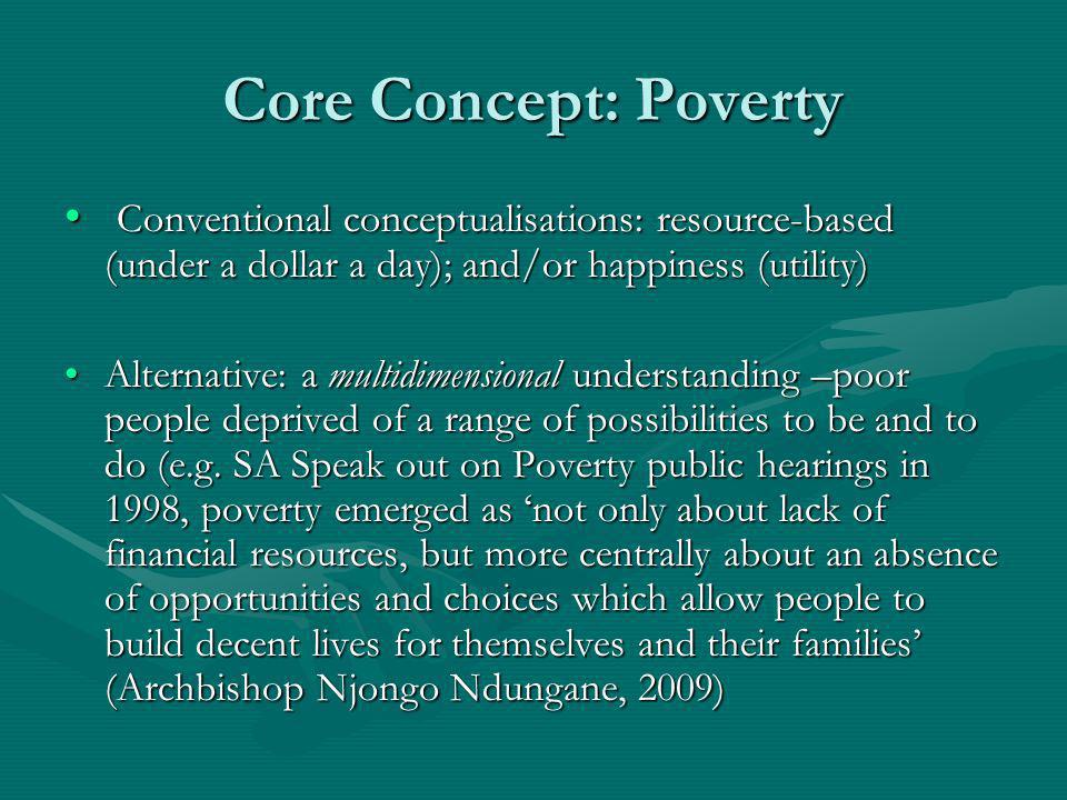 Core Concept: Poverty Conventional conceptualisations: resource-based (under a dollar a day); and/or happiness (utility) Conventional conceptualisatio