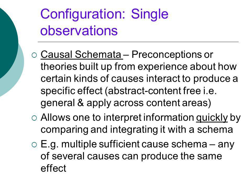 Configuration: Single observations Causal Schemata – Preconceptions or theories built up from experience about how certain kinds of causes interact to