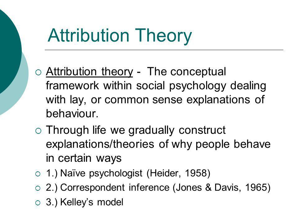 Attribution Theory Attribution theory - The conceptual framework within social psychology dealing with lay, or common sense explanations of behaviour.
