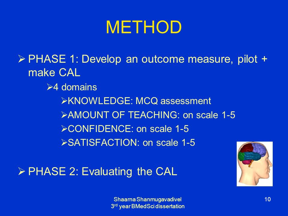 Shaarna Shanmugavadivel 3 rd year BMedSci dissertation 10 METHOD PHASE 1: Develop an outcome measure, pilot + make CAL 4 domains KNOWLEDGE: MCQ assessment AMOUNT OF TEACHING: on scale 1-5 CONFIDENCE: on scale 1-5 SATISFACTION: on scale 1-5 PHASE 2: Evaluating the CAL
