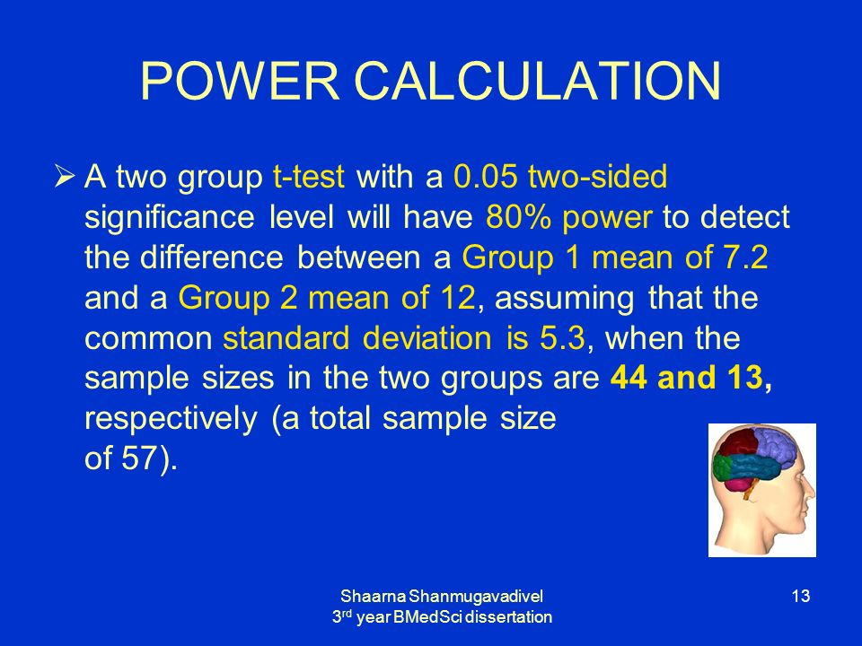 Shaarna Shanmugavadivel 3 rd year BMedSci dissertation 13 POWER CALCULATION A two group t-test with a 0.05 two-sided significance level will have 80% power to detect the difference between a Group 1 mean of 7.2 and a Group 2 mean of 12, assuming that the common standard deviation is 5.3, when the sample sizes in the two groups are 44 and 13, respectively (a total sample size of 57).