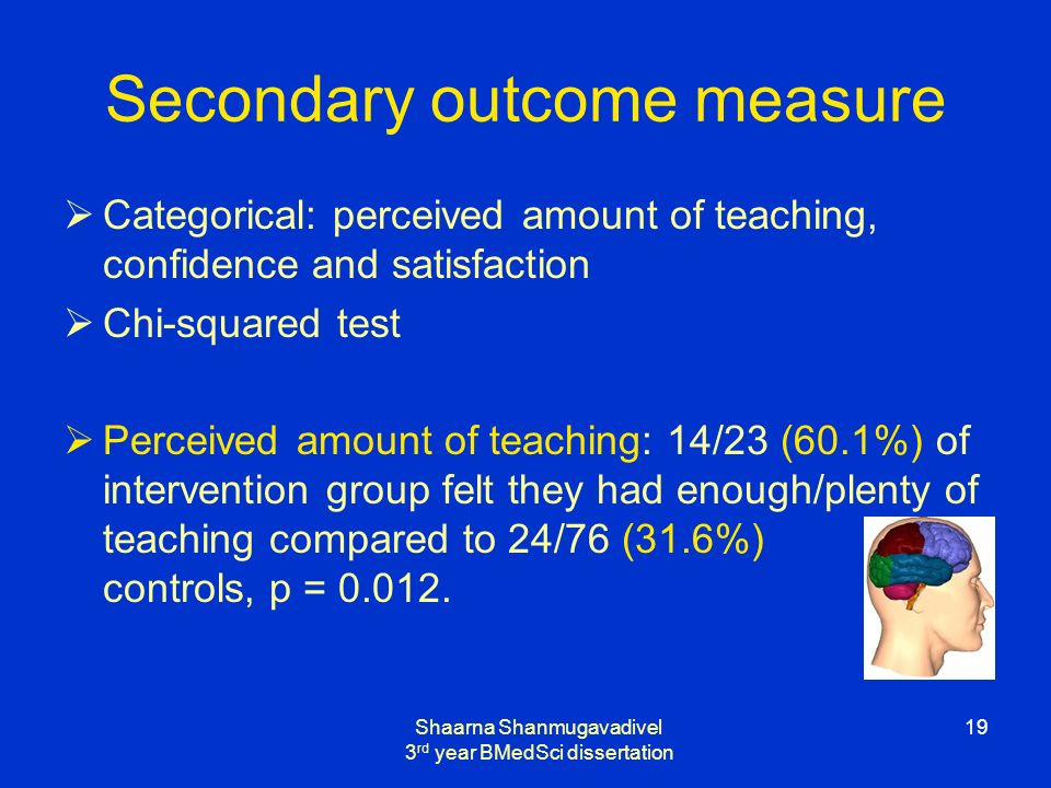 Shaarna Shanmugavadivel 3 rd year BMedSci dissertation 19 Secondary outcome measure Categorical: perceived amount of teaching, confidence and satisfaction Chi-squared test Perceived amount of teaching: 14/23 (60.1%) of intervention group felt they had enough/plenty of teaching compared to 24/76 (31.6%) controls, p = 0.012.