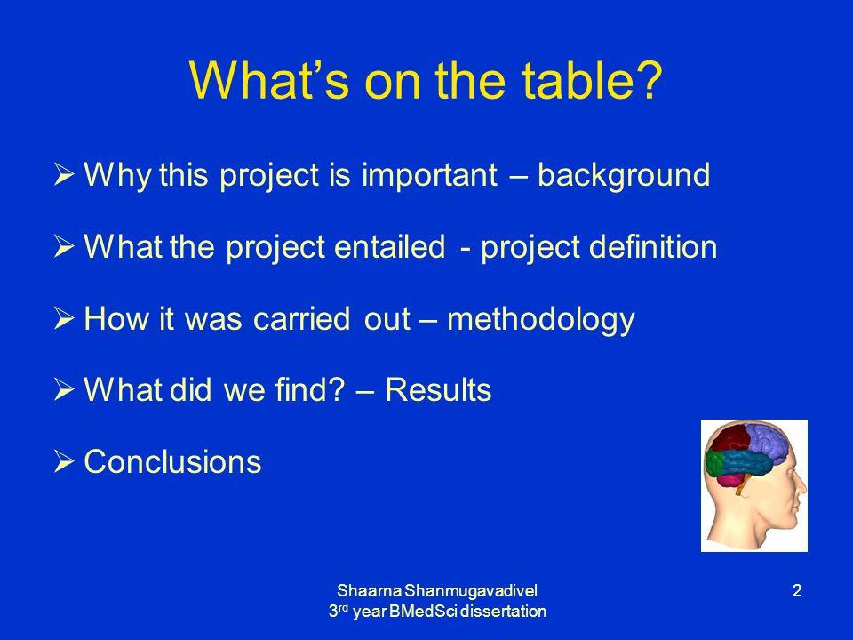 Shaarna Shanmugavadivel 3 rd year BMedSci dissertation 2 Whats on the table.
