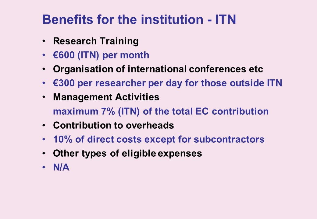Benefits for the institution - ITN Research Training 600 (ITN) per month Organisation of international conferences etc 300 per researcher per day for