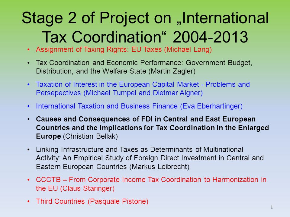 11 Stage 2 of Project on International Tax Coordination 2004-2013 Assignment of Taxing Rights: EU Taxes (Michael Lang) Tax Coordination and Economic Performance: Government Budget, Distribution, and the Welfare State (Martin Zagler) Taxation of Interest in the European Capital Market - Problems and Persepectives (Michael Tumpel and Dietmar Aigner) International Taxation and Business Finance (Eva Eberhartinger) Causes and Consequences of FDI in Central and East European Countries and the Implications for Tax Coordination in the Enlarged Europe (Christian Bellak) Linking Infrastructure and Taxes as Determinants of Multinational Activity: An Empirical Study of Foreign Direct Investment in Central and Eastern European Countries (Markus Leibrecht) CCCTB – From Corporate Income Tax Coordination to Harmonization in the EU (Claus Staringer) Third Countries (Pasquale Pistone)