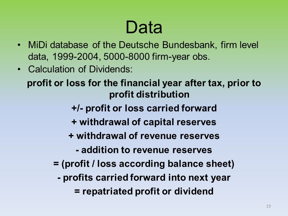 19 Data MiDi database of the Deutsche Bundesbank, firm level data, 1999-2004, 5000-8000 firm-year obs.