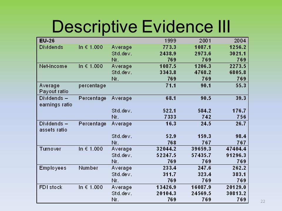 22 Descriptive Evidence III