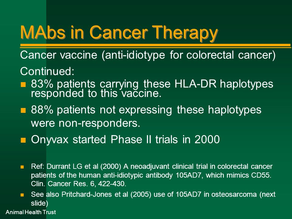 Animal Health Trust MAbs in Cancer Therapy Cancer vaccine (anti-idiotype for colorectal cancer) Continued: n 83% patients carrying these HLA-DR haplot