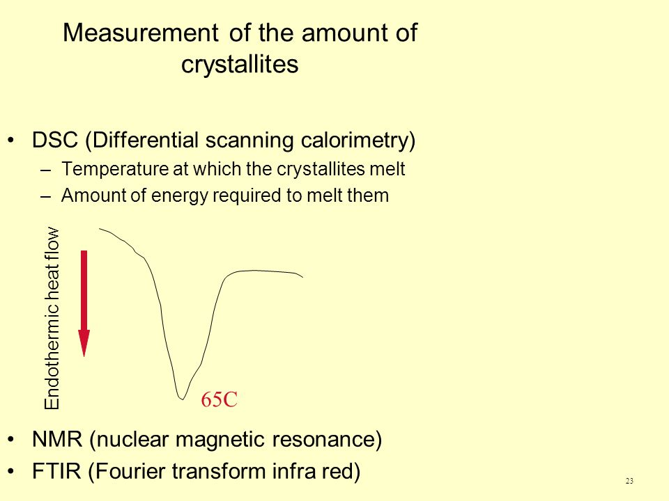 23 Measurement of the amount of crystallites DSC (Differential scanning calorimetry) –Temperature at which the crystallites melt –Amount of energy required to melt them NMR (nuclear magnetic resonance) FTIR (Fourier transform infra red) Endothermic heat flow 65C
