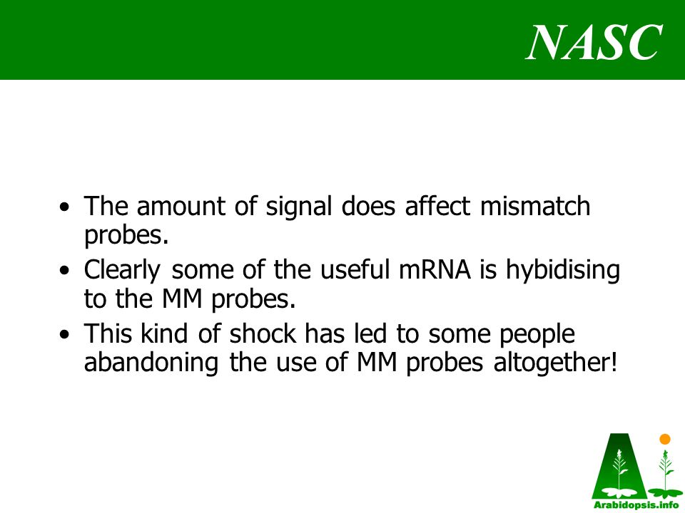 NASC The amount of signal does affect mismatch probes.