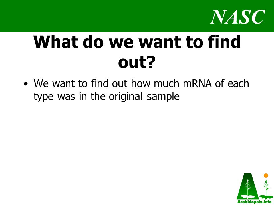 NASC What do we want to find out.
