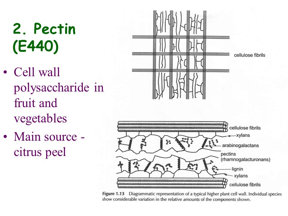 2. Pectin (E440) Cell wall polysaccharide in fruit and vegetables Main source - citrus peel