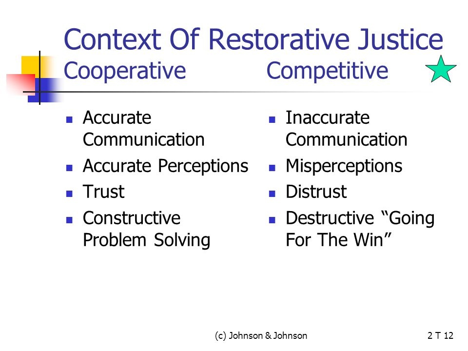 (c) Johnson & Johnson2 T 12 Context Of Restorative Justice Cooperative Competitive Accurate Communication Accurate Perceptions Trust Constructive Problem Solving Inaccurate Communication Misperceptions Distrust Destructive Going For The Win
