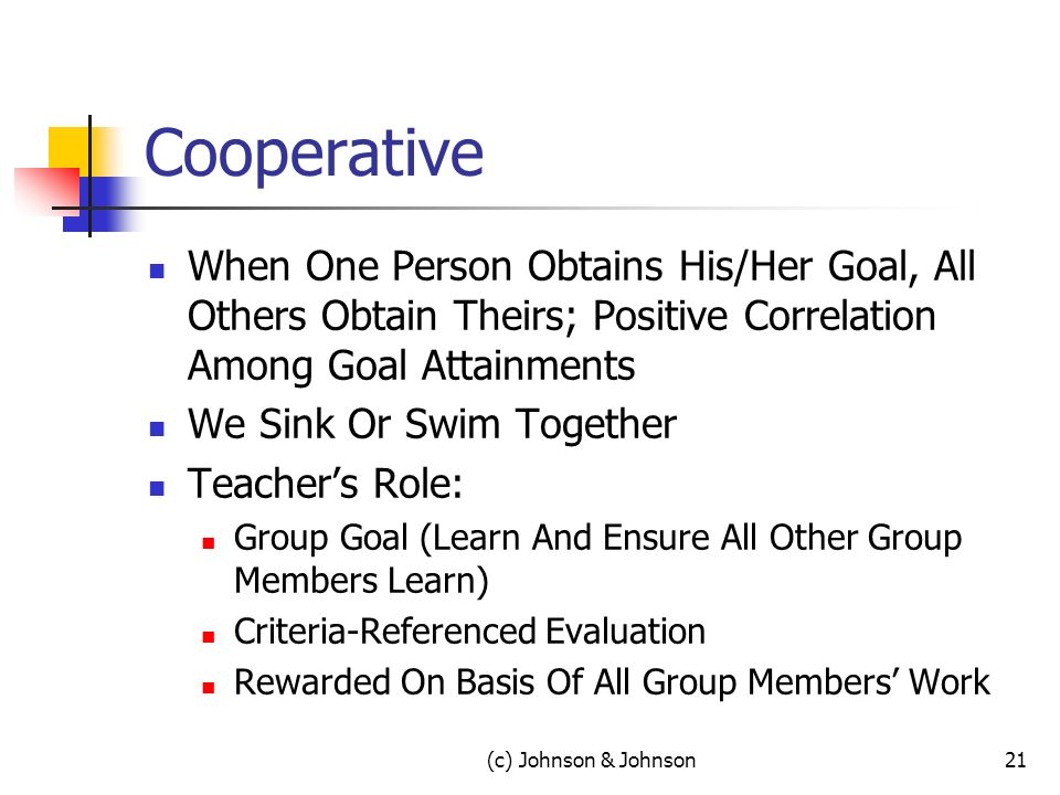 (c) Johnson & Johnson21 Cooperative When One Person Obtains His/Her Goal, All Others Obtain Theirs; Positive Correlation Among Goal Attainments We Sink Or Swim Together Teachers Role: Group Goal (Learn And Ensure All Other Group Members Learn) Criteria-Referenced Evaluation Rewarded On Basis Of All Group Members Work