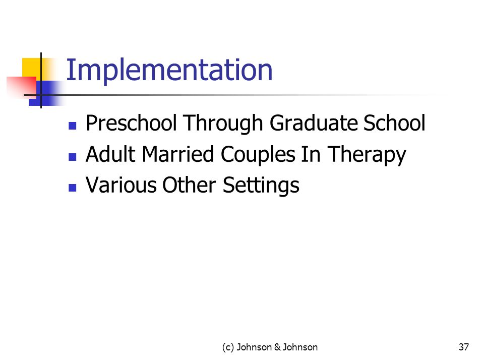 Implementation Preschool Through Graduate School Adult Married Couples In Therapy Various Other Settings (c) Johnson & Johnson37