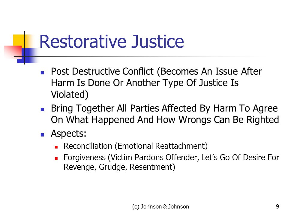 Restorative Justice Post Destructive Conflict (Becomes An Issue After Harm Is Done Or Another Type Of Justice Is Violated) Bring Together All Parties Affected By Harm To Agree On What Happened And How Wrongs Can Be Righted Aspects: Reconciliation (Emotional Reattachment) Forgiveness (Victim Pardons Offender, Lets Go Of Desire For Revenge, Grudge, Resentment) (c) Johnson & Johnson9