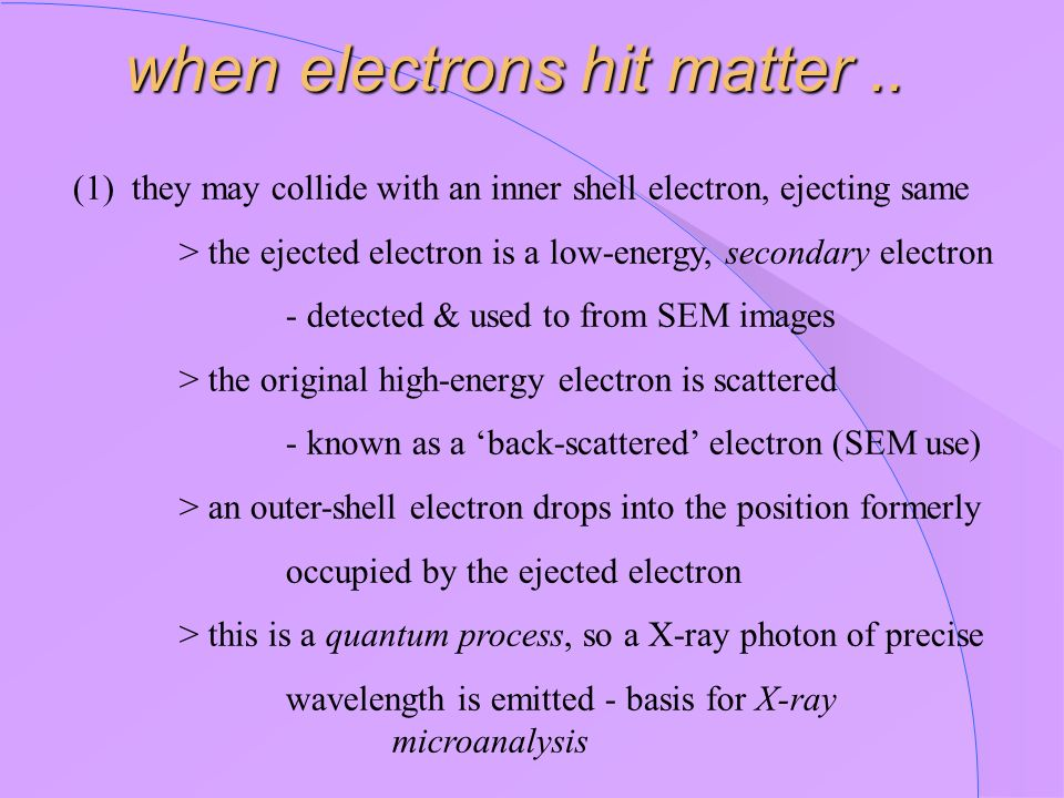 (1) they may collide with an inner shell electron, ejecting same > the ejected electron is a low-energy, secondary electron - detected & used to from