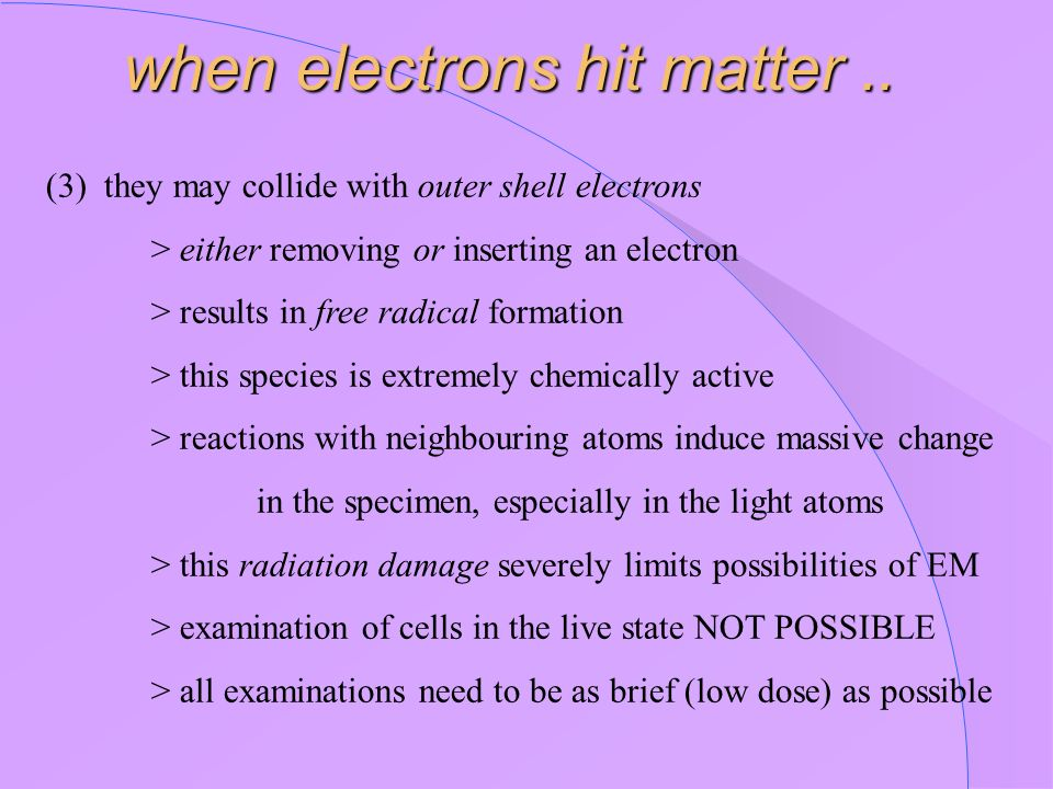 (3) they may collide with outer shell electrons > either removing or inserting an electron > results in free radical formation > this species is extre