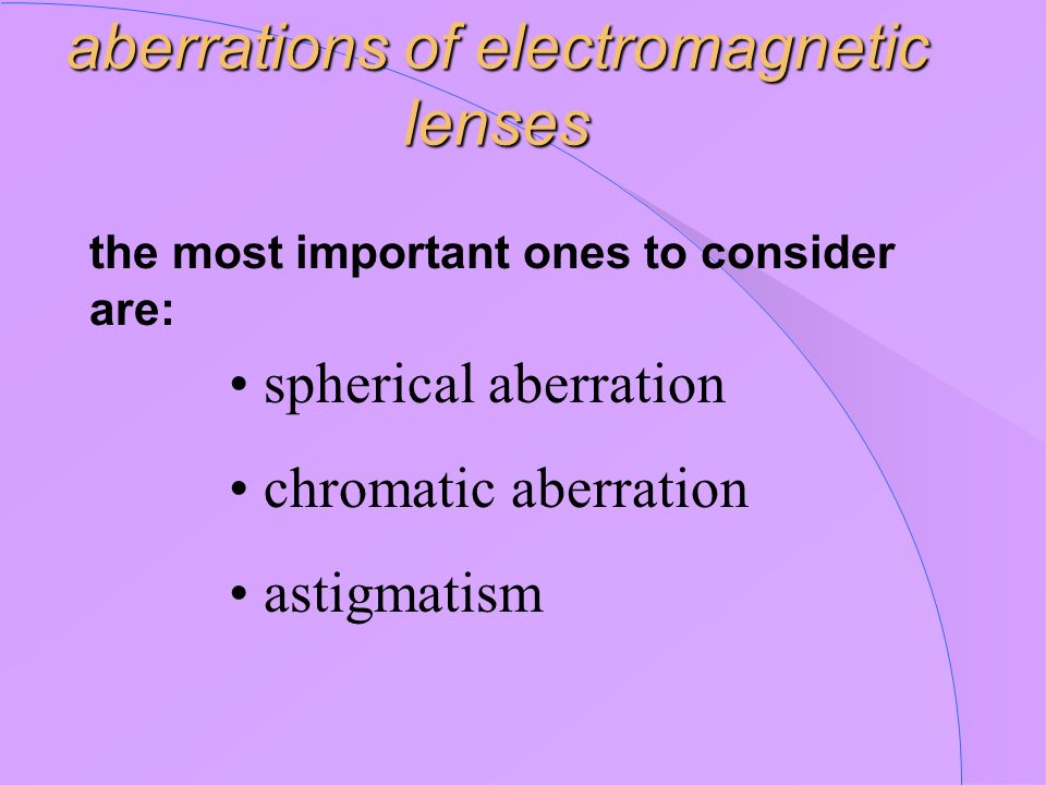 aberrations of electromagnetic lenses the most important ones to consider are: spherical aberration chromatic aberration astigmatism
