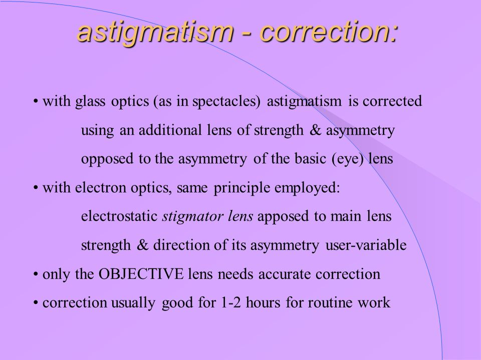 astigmatism - correction: with glass optics (as in spectacles) astigmatism is corrected using an additional lens of strength & asymmetry opposed to th