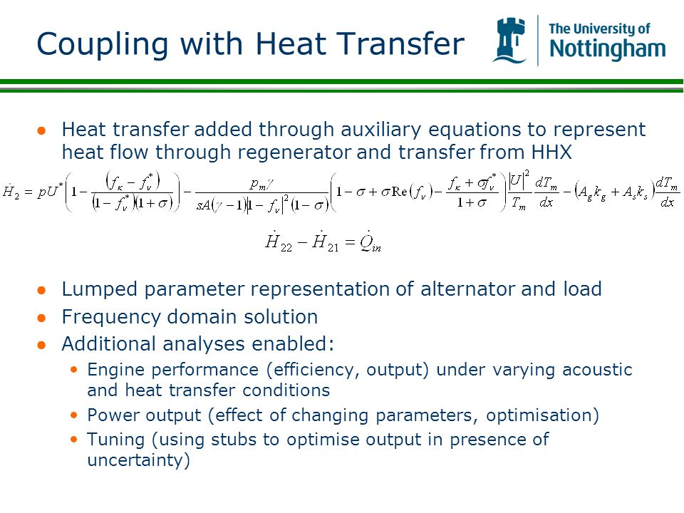 Coupling with Heat Transfer Heat transfer added through auxiliary equations to represent heat flow through regenerator and transfer from HHX Lumped pa