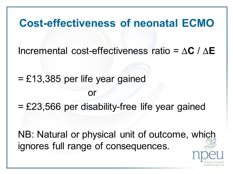 Cost-effectiveness of neonatal ECMO Incremental cost-effectiveness ratio = C / E = £13,385 per life year gained or = £23,566 per disability-free life year gained NB: Natural or physical unit of outcome, which ignores full range of consequences.