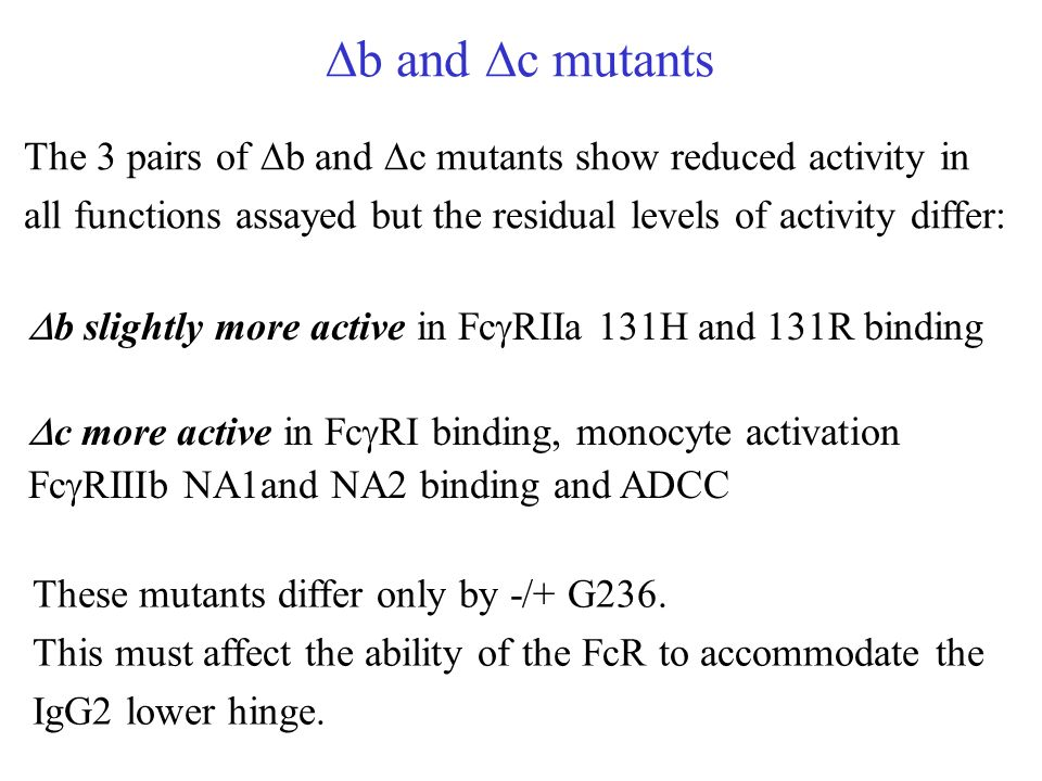 b and c mutants The 3 pairs of b and c mutants show reduced activity in all functions assayed but the residual levels of activity differ: b slightly m