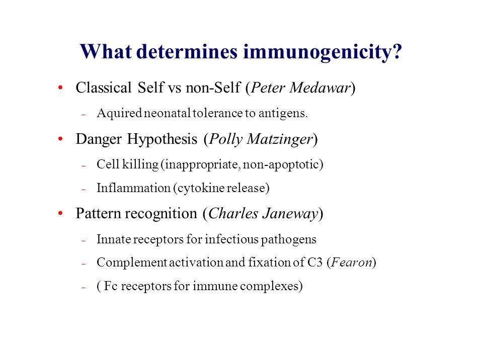 What determines immunogenicity? Classical Self vs non-Self (Peter Medawar) Aquired neonatal tolerance to antigens. Danger Hypothesis (Polly Matzinger)