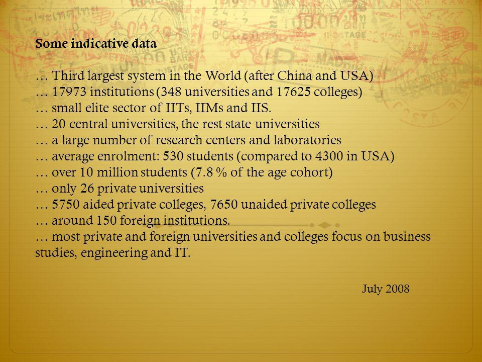 Indicators of Decline The inability of the system to meet the growing demand Considerable evidence of poor teaching, especially in state universities Ineffective quality control Ritualization of Distance Education Poor graduate outcomes (unemployablity of most graduates from colleges) Declining Research performance and productivity Low status of Indian universities in International Ranking Systems Widespread corruption in appointments of faculty and selection of students Poor governance (cumbersome bureaucratic impediments to reform) July 2008