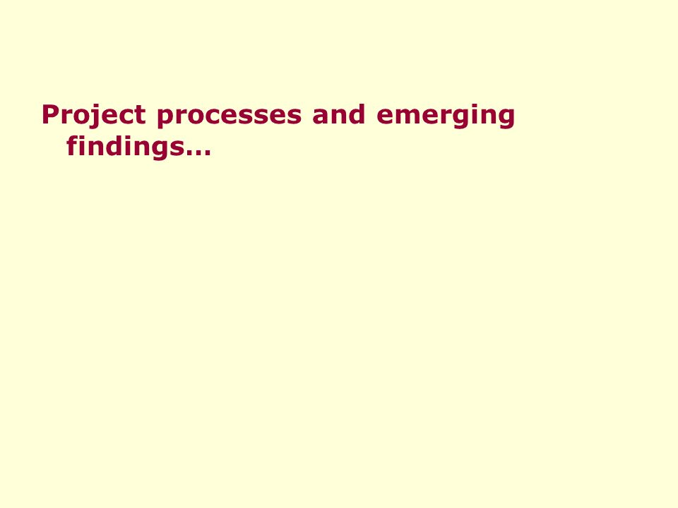 Project processes and emerging findings…