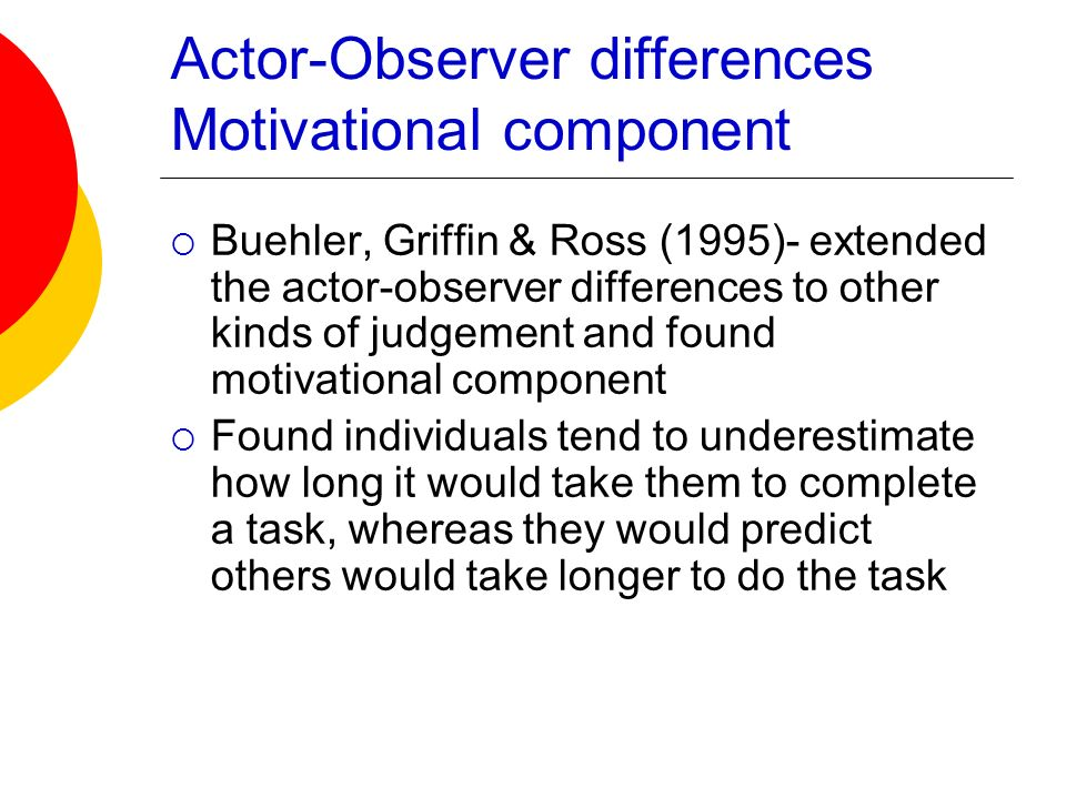 Actor-Observer differences Motivational component Buehler, Griffin & Ross (1995)- extended the actor-observer differences to other kinds of judgement