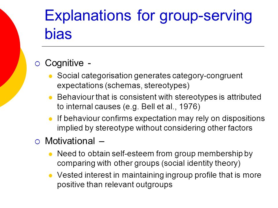 Explanations for group-serving bias Cognitive - Social categorisation generates category-congruent expectations (schemas, stereotypes) Behaviour that