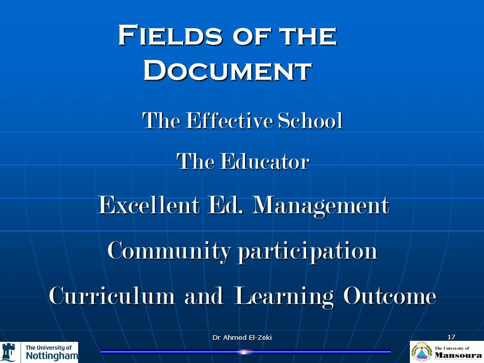 Dr Ahmed El-Zeki 17 TheEffectiveSchool The Effective School TheEducator The Educator Excellent Ed. Management Communityparticipation Community partici