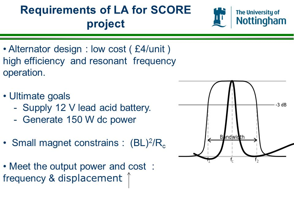 Requirements of LA for SCORE project Alternator design : low cost ( £4/unit ) high efficiency and resonant frequency operation.