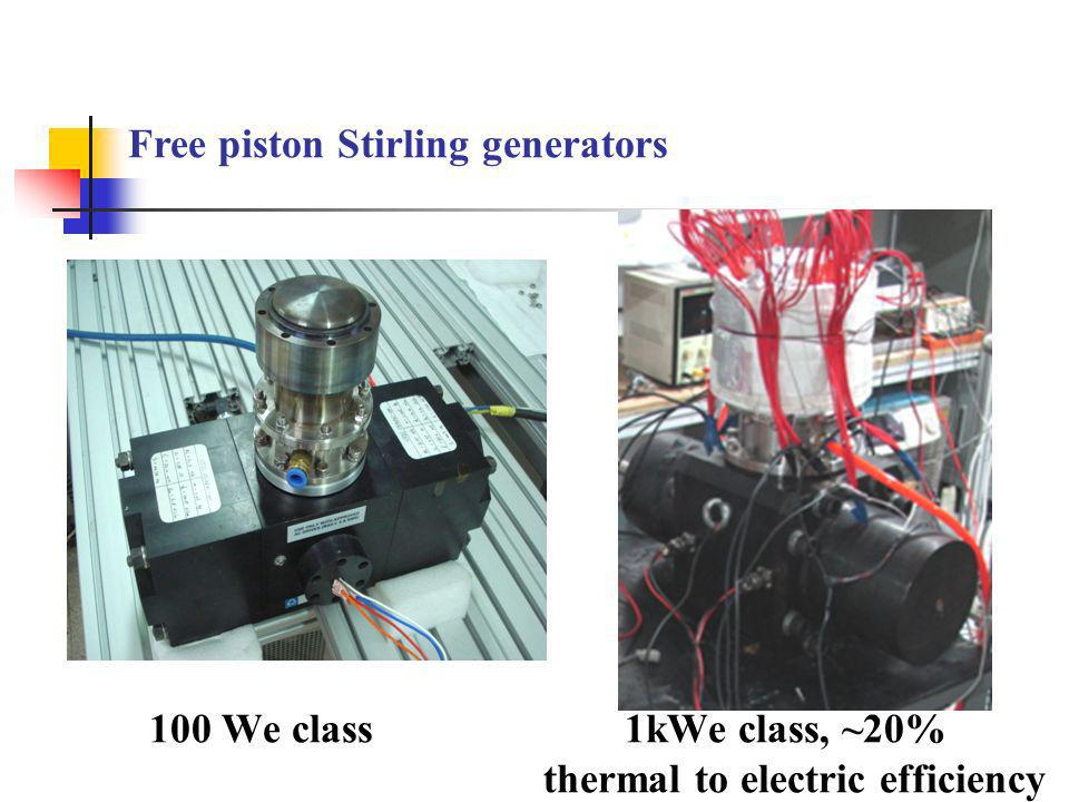 Free piston Stirling generators 100 We class 1kWe class, ~20% thermal to electric efficiency