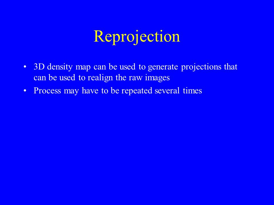 Reprojection 3D density map can be used to generate projections that can be used to realign the raw images Process may have to be repeated several times