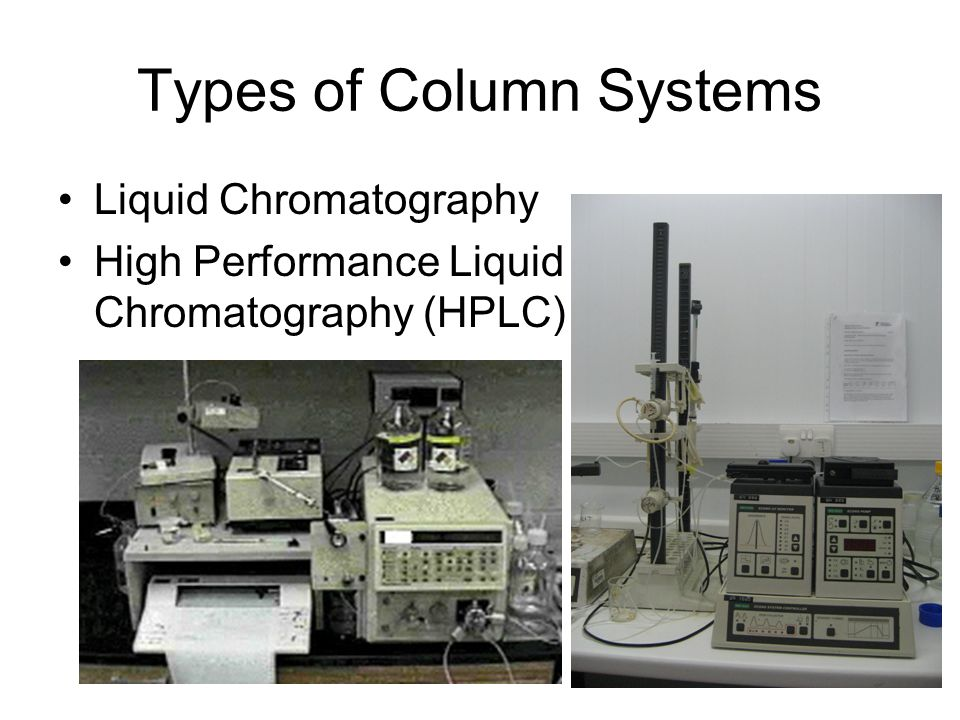 Types of Column Systems Liquid Chromatography High Performance Liquid Chromatography (HPLC)