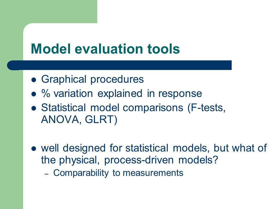 Environmental modelling Modelling may involve – Understanding and handling variation – Dealing with unusual observations – Dealing with missing observations – Evaluating uncertainties