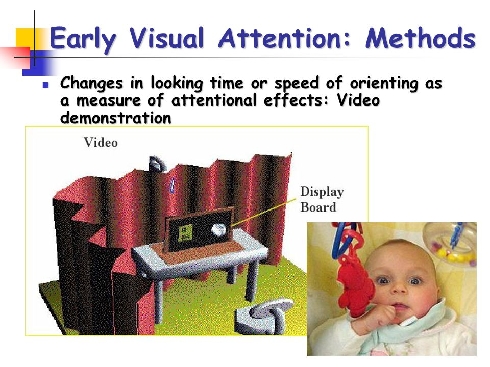 Early Visual Attention: Methods Changes in looking time or speed of orienting as a measure of attentional effects: Video demonstration Changes in looking time or speed of orienting as a measure of attentional effects: Video demonstration