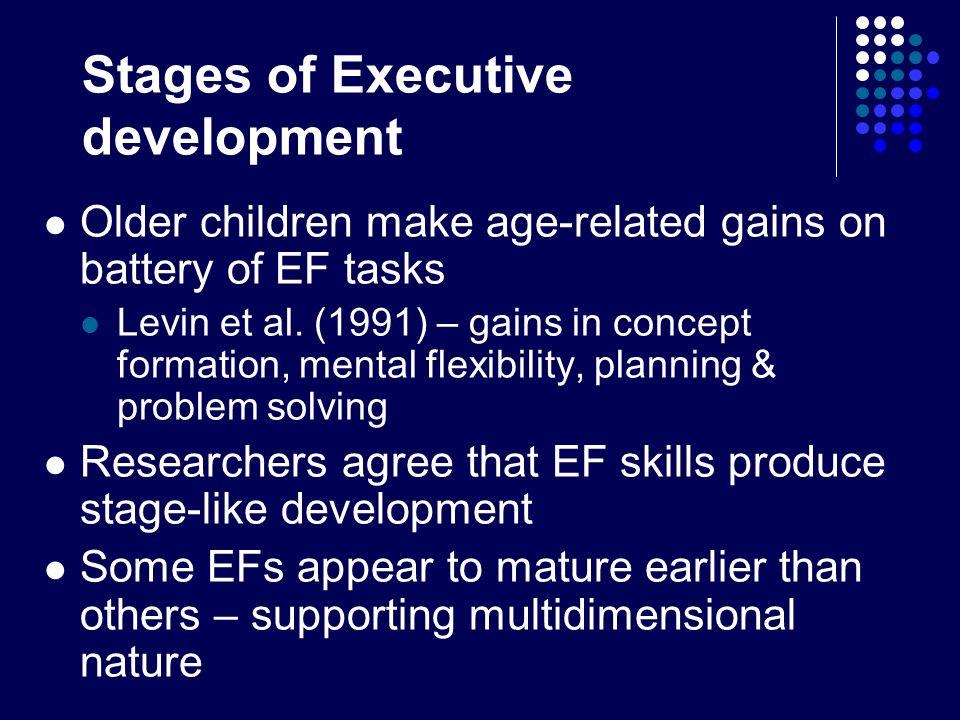 Stages of Executive development Older children make age-related gains on battery of EF tasks Levin et al. (1991) – gains in concept formation, mental