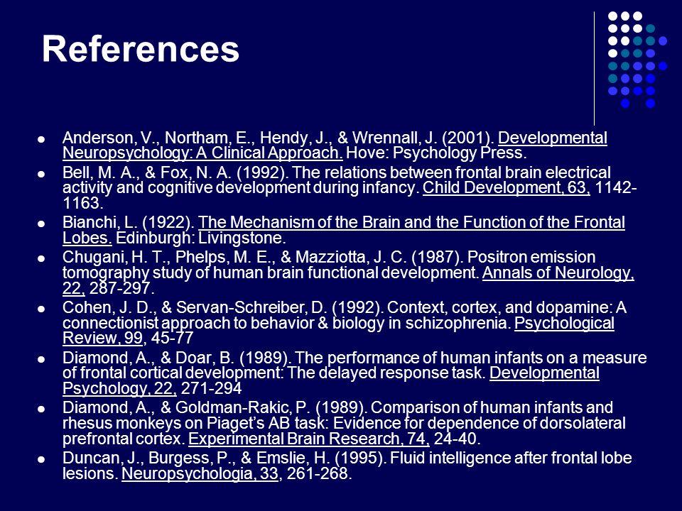 References Anderson, V., Northam, E., Hendy, J., & Wrennall, J. (2001). Developmental Neuropsychology: A Clinical Approach. Hove: Psychology Press. Be