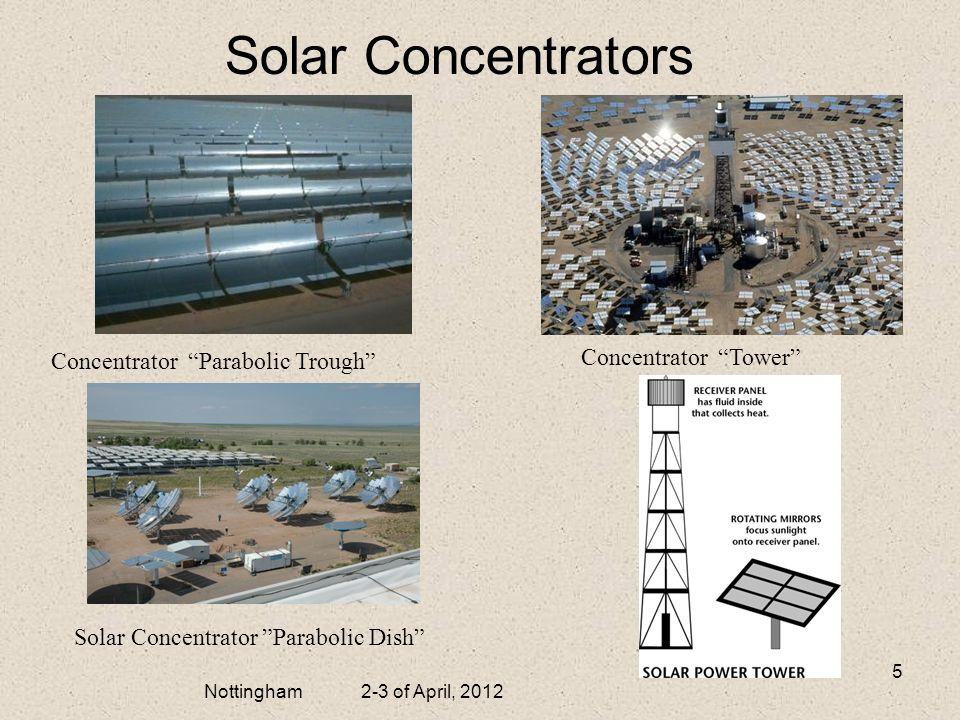 Nottingham 2-3 of April, 2012 5 Solar Concentrators Concentrator Parabolic Trough Solar Concentrator Parabolic Dish Concentrator Tower