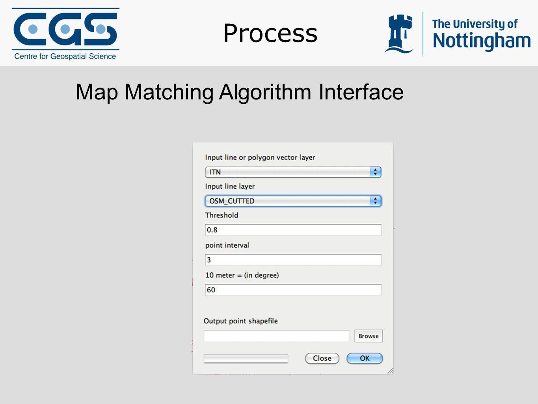 Process Map Matching Algorithm Interface