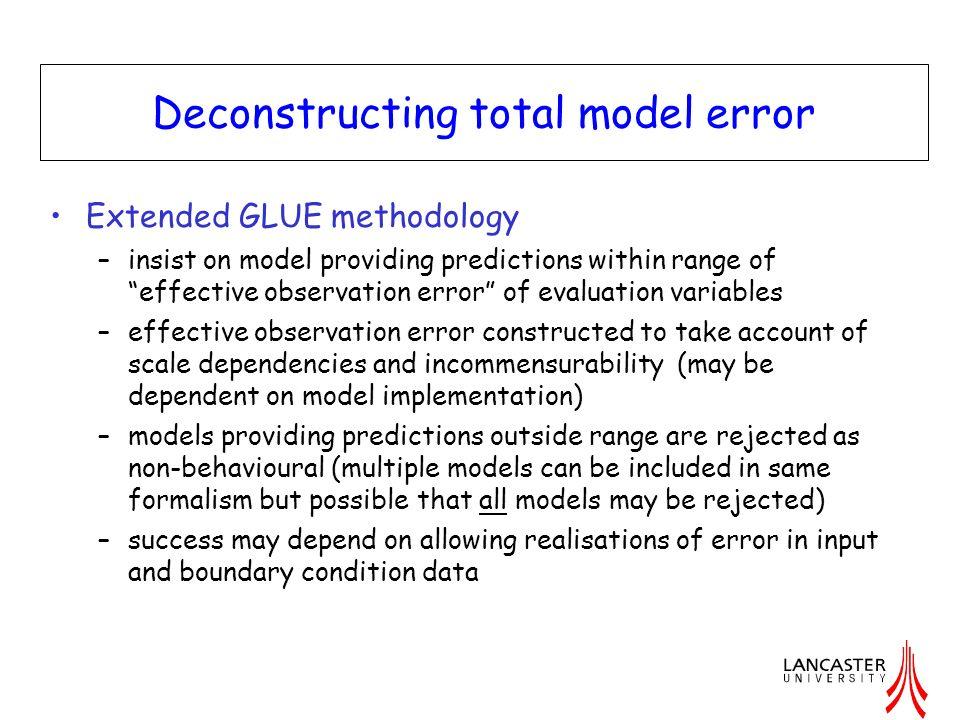 Deconstructing total model error Extended GLUE methodology –insist on model providing predictions within range of effective observation error of evalu