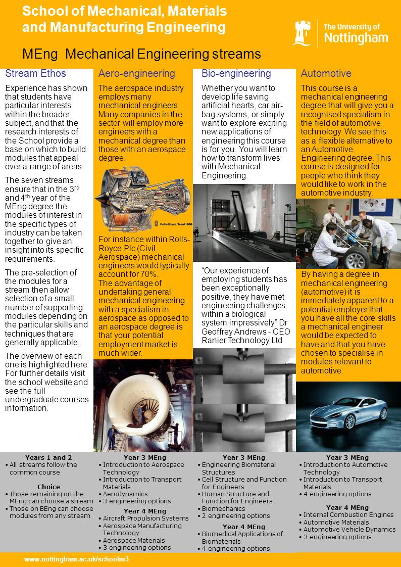 www.nottingham.ac.uk/schoolm3 School of Mechanical, Materials and Manufacturing Engineering Automotive This course is a mechanical engineering degree that will give you a recognised specialism in the field of automotive technology.